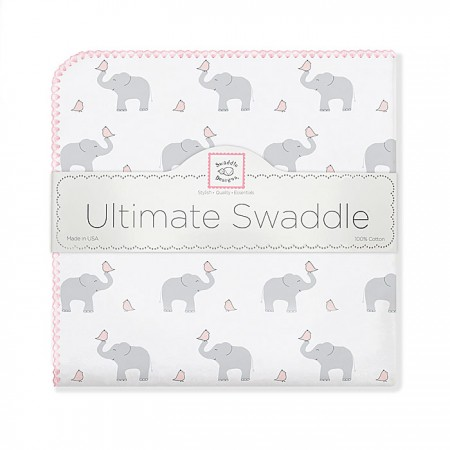 Ultimate Swaddle Blanket - Elephant & Chickies (Pink)