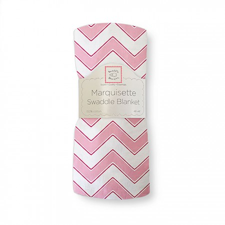 Marquisette Swaddle Blanket - Chevron (Pink)