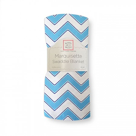 Marquisette Swaddle Blanket - Chevron (Blue)