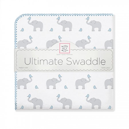 Ultimate Swaddle Blanket - Elephant & Chickies (Blue)