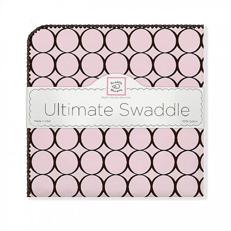 Ultimate Swaddle Blanket - Pink with Brown Mod Circles